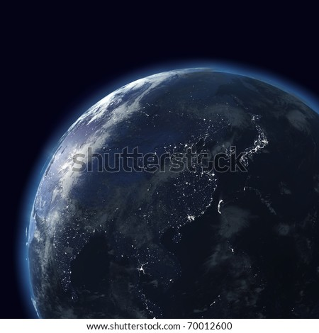 night globe with city lights, detailed map of east, japan, china, india, indonesia, asia - stock photo