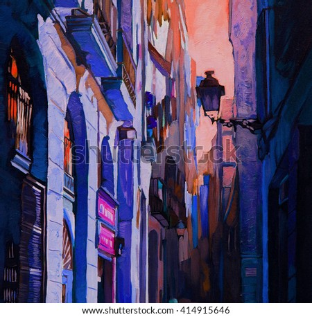 night gothic quarter in barcelona, painting by oil on a canvas, illustration