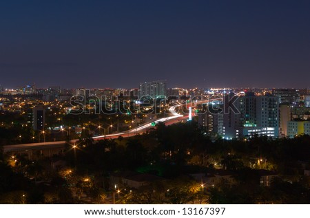 Night Highway Traffic at Southern End of US Route 95 in Miami - stock photo