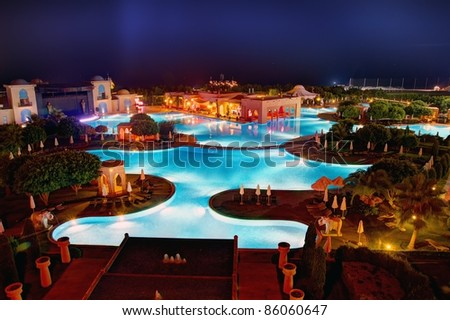 Night hotel pool - stock photo