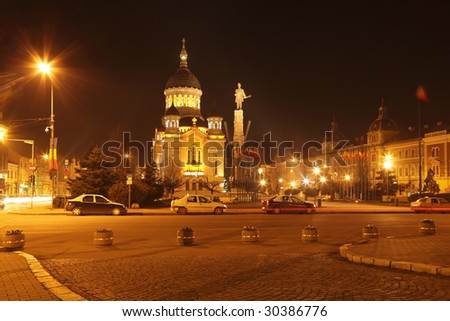 Night image of Avram Iancu square in Cluj Napoca,Romania.In the centre of the image,you can see the Orthodox Cathedral and Avram Iancu's statue.