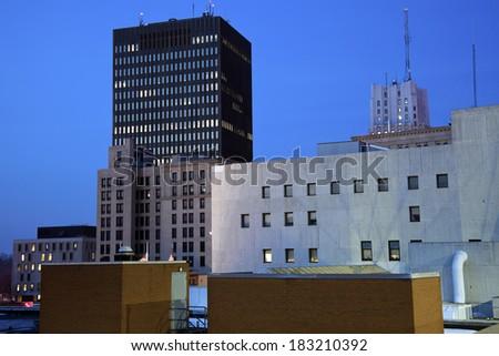 Night in Akron, Ohio - stock photo