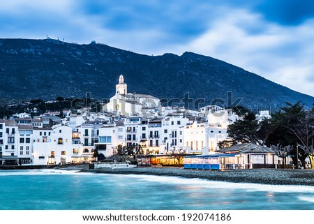 Night in Cadaques, the most picturesque village of Costa Brava. - stock photo