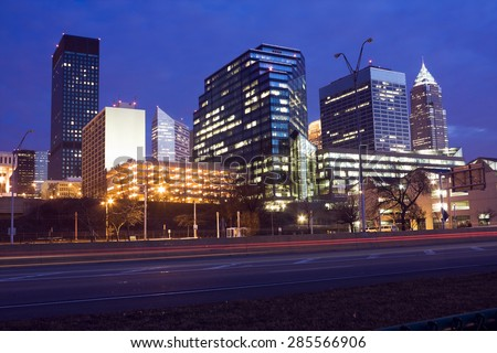 Night in downtown Cleveland, Ohio. - stock photo