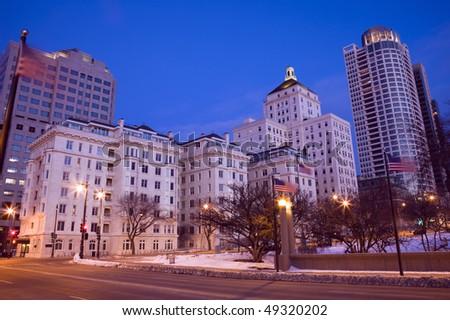 Night in downtown Milwaukee, Wisconsin. - stock photo