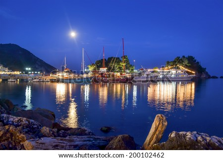 Night in Parga, Greece. - stock photo