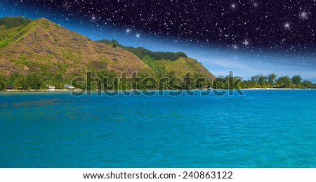 Night in Polynesia with sea and stars. - stock photo