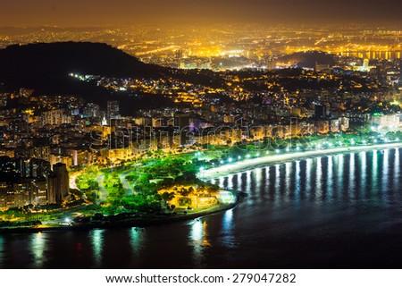 Night in Rio de Janeiro aerial view - stock photo