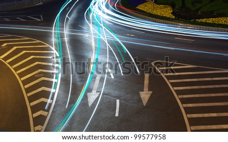 Night in Shanghai traffic light trails