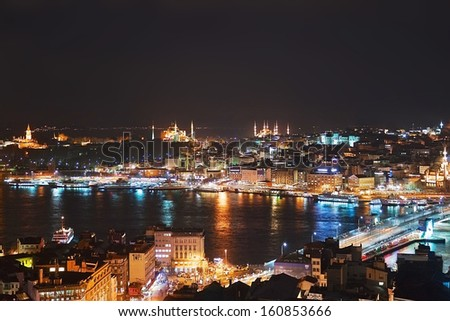 Night Istanbul, view from Galata tower, Turkey - stock photo
