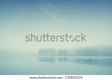 night lake forest . Elements of this image furnished by NASA - stock photo