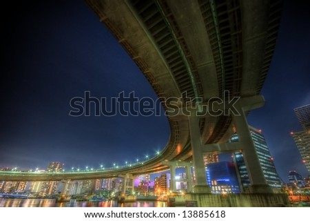 Night landscape at rainbow bridge in Tokyo
