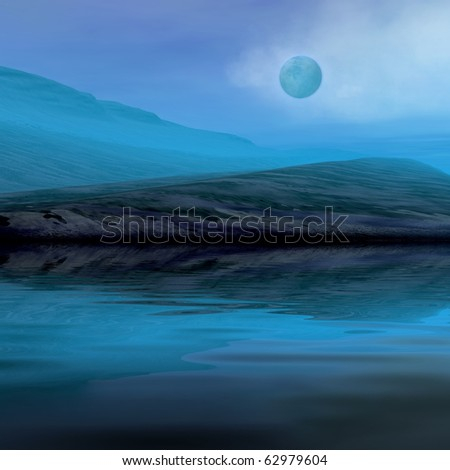 Night landscape - hills and sea. 3d graphic