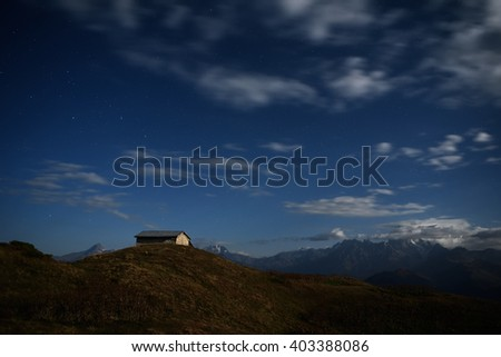Night landscape. Light of the moon in mountains. Georgia, Svaneti, Caucasus - stock photo
