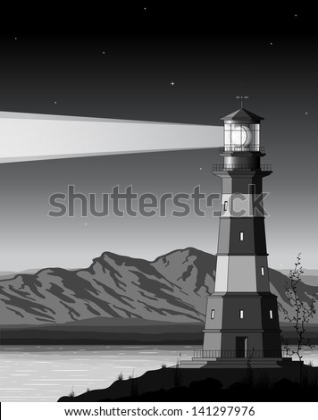 Night landscape with detailed lighthouse, mountains and sea. Raster version of the illustration. - stock photo