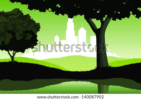 Night Landscape with lake trees and city silhouette in green color - stock photo