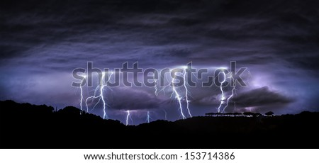 night landscape with lightning - stock photo