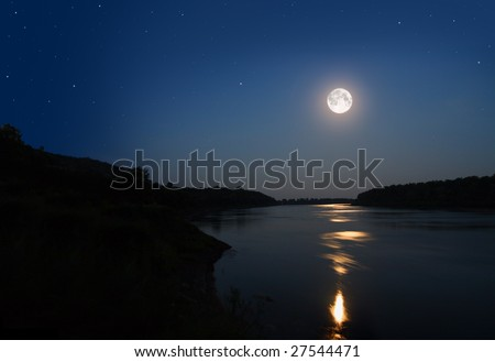night landscape with moon and moonbeam in river - stock photo