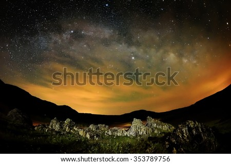 Night landscape with the Milky Way above the fields, Dobrogea, Romania - stock photo