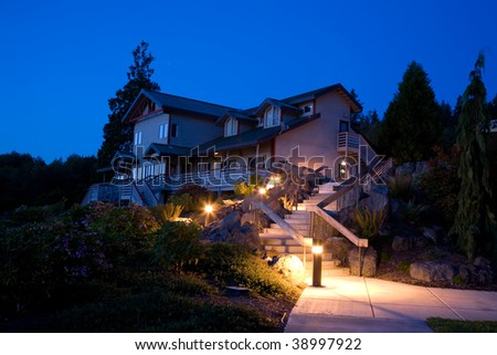 Night landscaping and architecture in the Pacific Northwest - stock photo