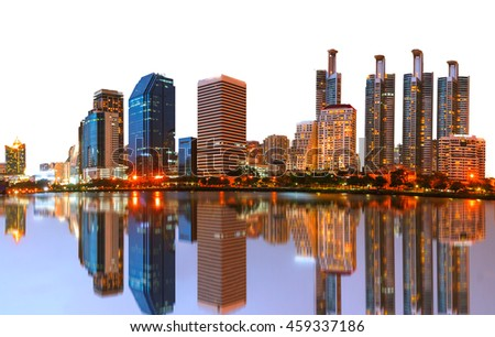 Night light landscape abstract city blur white isolated .Panoramic and perspective wide view high rise building skyscraper commercial modern city of future. Business concept of success industry tech  - stock photo