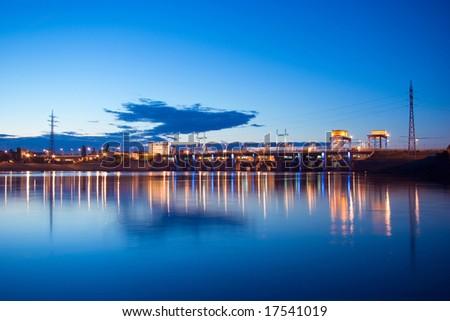 Night lights hydroelectric dam at the Dniper river, Kiev, Ukraine; - stock photo