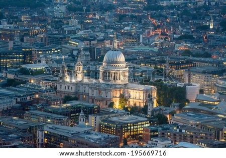 Night lights of Saint Paul Cathedral in London. Aerial view of city landmark. - stock photo
