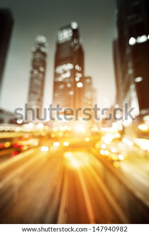 Night lights of the Hong Kong out of focus - stock photo
