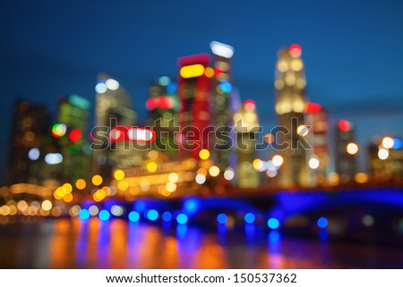 Night lights of the Singapore city - stock photo