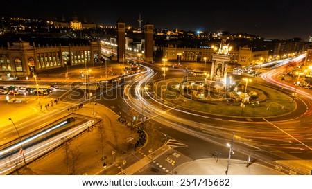Night lights on the street - stock photo