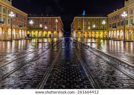 Night  moist the area in Nice - stock photo