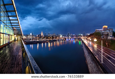 Night Moscow. Moscow River. Rostov embankment. - stock photo