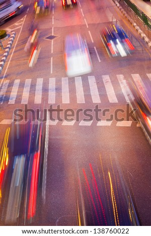 Night Motion Blur of Fast Cars traffic on road