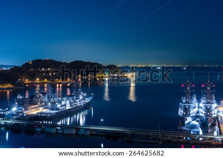 Night of the naval port and the starry sky (Yokosuka base) - stock photo