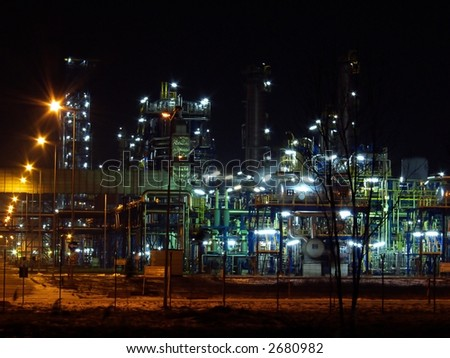 night oil refinery,  night scene, light and oil refinery construction, - stock photo