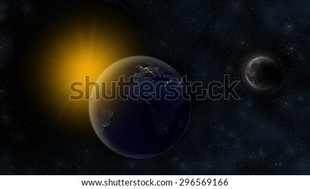 Night on planet Earth, Sun in the distant background and orbiting Moon with craters. Cosmic scene with stars. Africa, Europe and South America visible - Elements of this Image Furnished By NASA - stock photo