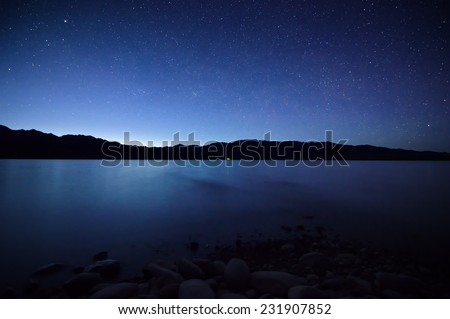 Night on the Bartogay lake in the Tien-Shan mountains,Kazakhsta n  - stock photo