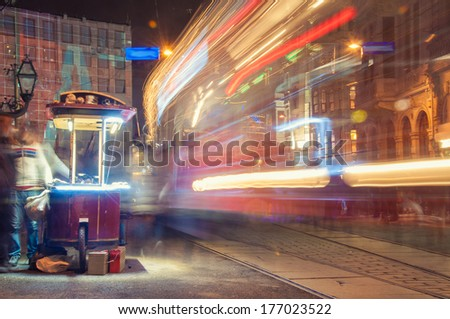 night on the streets of Istanbul - stock photo