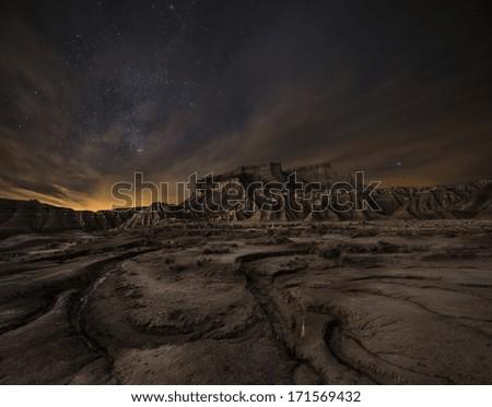 Night over the desert, Bardenas, Spain - stock photo
