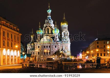 Night panorama of ancient town church (St. Petersburg, Russia) - stock photo