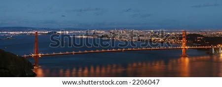 Night panorama of Golden Gate bridge and San-Francisco - stock photo