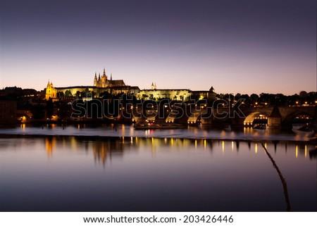 Night panorama of Prague, Czech Republic. Castle, Charles Bridge and Vltava river.  - stock photo