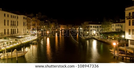 Night panorama of the Grand Canal from the Scalzi Bridge, Venice, Italy.