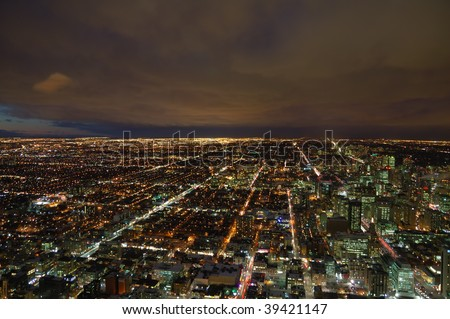 Night panorama of Toronto megalopolis