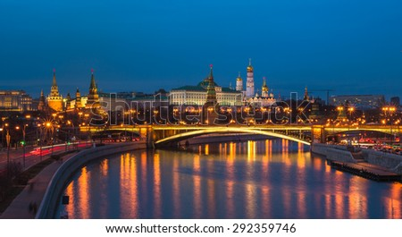 Night panoramic view of Moscow Kremlin, Russia - stock photo