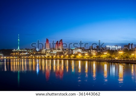 Night photo of Baku Azerbaijan - stock photo