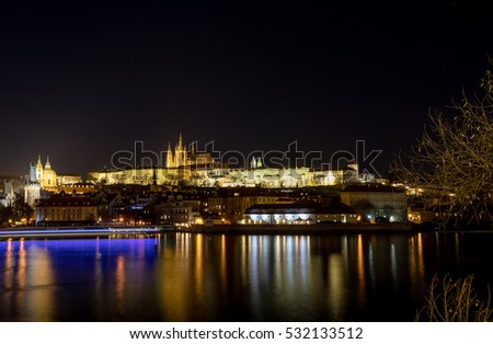Night photo of Prague Cathedral of St. Vitus, Prague castle and the Vltava River
