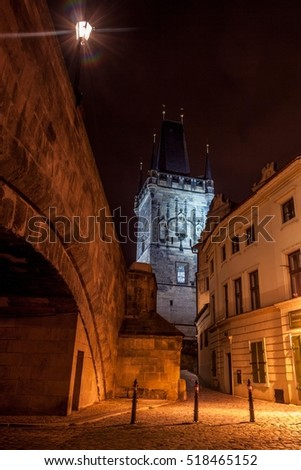 Night photo old Prague - Charles bridge and tower