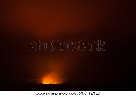 Night photos of erupting volcano in Hawaii Volcanoes National Park, Big Island, Hawaii. Night photos, multiple minute exposure. - stock photo