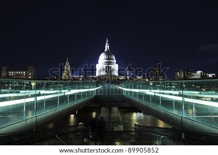 night picture of st.Paul's Cathedral and Millennium bridge - stock photo